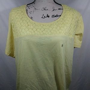 Yellow mesh upper floral blouse